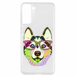 Чохол для Samsung S21+ Multi-colored dog with glasses