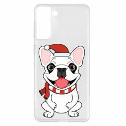 Чехол для Samsung S21+ New Year's French Bulldog