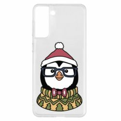 Чехол для Samsung S21+ New Year's Penguin