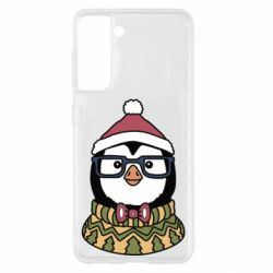 Чехол для Samsung S21 New Year's Penguin