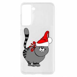 Чохол для Samsung S21 Новорічний коте