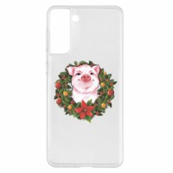 Чохол для Samsung S21+ Pig with a Christmas wreath