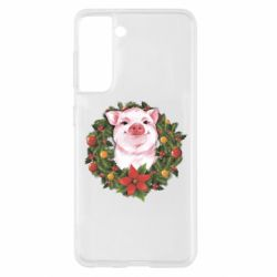 Чохол для Samsung S21 Pig with a Christmas wreath