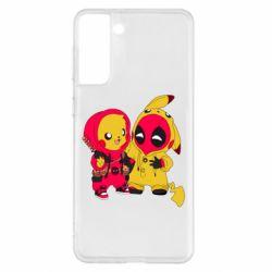 Чехол для Samsung S21+ Pikachu and deadpool