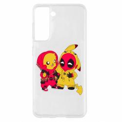 Чехол для Samsung S21 Pikachu and deadpool