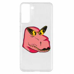 Чохол для Samsung S21+ Pink dinosaur with glasses head