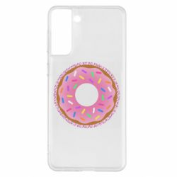 Чохол для Samsung S21+ Pink donut on a background of patterns