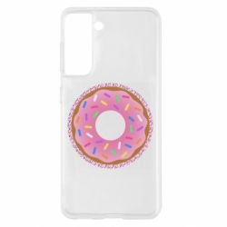 Чохол для Samsung S21 Pink donut on a background of patterns