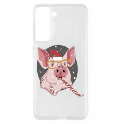 Чохол для Samsung S21 Portrait of the pink Pig in a red Santa's cap