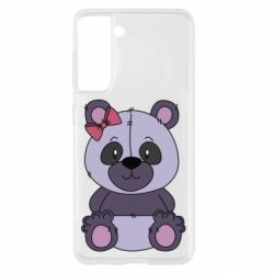 Чохол для Samsung S21 Purple Teddy Bear