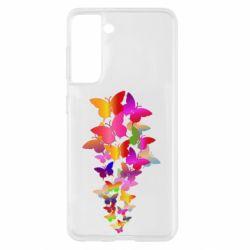 Чохол для Samsung S21 Rainbow butterflies