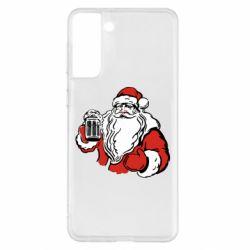 Чехол для Samsung S21+ Santa Claus with beer
