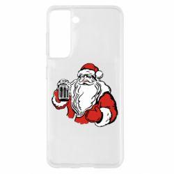 Чехол для Samsung S21 Santa Claus with beer