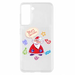 Чехол для Samsung S21 Santa says merry christmas