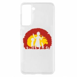 Чохол для Samsung S21 Silhouette of Rick and Morty at Sunset