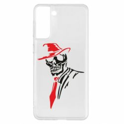Чехол для Samsung S21+ Skull in a hat with a tie