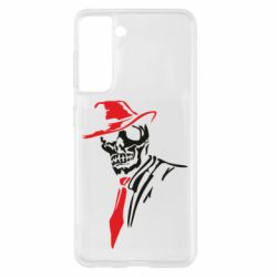 Чехол для Samsung S21 Skull in a hat with a tie