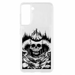 Чохол для Samsung S21 Skull with horns in the forest