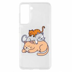 Чехол для Samsung S21 Sleeping cats