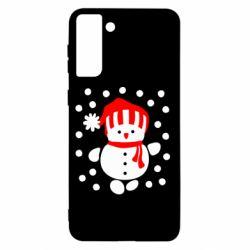 Чехол для Samsung S21+ Снеговик в шапке