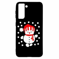 Чехол для Samsung S21 Снеговик в шапке