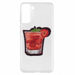 Чохол для Samsung S21+ Strawberry cocktail on a background of flowers