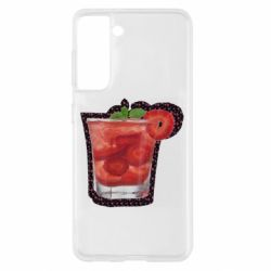 Чохол для Samsung S21 Strawberry cocktail on a background of flowers