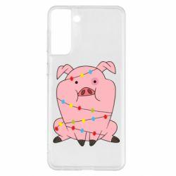 Чохол для Samsung S21+ Свиня обмотана гірляндою