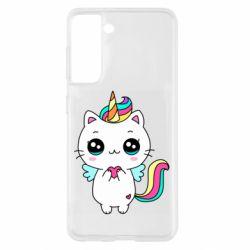 Чохол для Samsung S21 The cat is unicorn