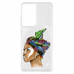 Чохол для Samsung S21 Ultra African girl in a color scarf