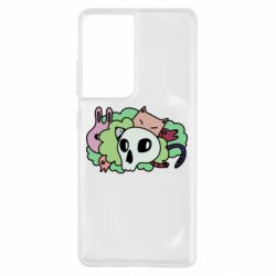 Чехол для Samsung S21 Ultra Animals and skull in the bushes