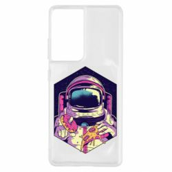 Чохол для Samsung S21 Ultra Astronaut with donut and pizza