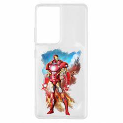Чохол для Samsung S21 Ultra Avengers iron man drawing