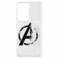 Чехол для Samsung S21 Ultra Avengers logotype destruction