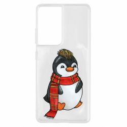 Чохол для Samsung S21 Ultra Baby penguin with a scarf
