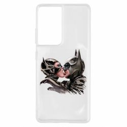 Чехол для Samsung S21 Ultra Batman and Catwoman Kiss