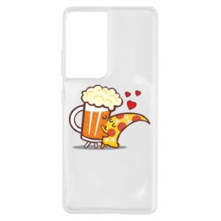 Чохол для Samsung S21 Ultra Beer and Pizza were kissed