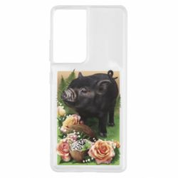 Чохол для Samsung S21 Ultra Black pig and flowers