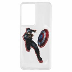 Чехол для Samsung S21 Ultra Captain america with red shadow