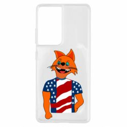 Чехол для Samsung S21 Ultra Cat in American Flag T-shirt