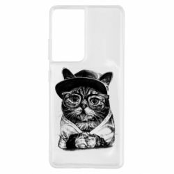 Чохол для Samsung S21 Ultra Cat in glasses and a cap