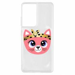 Чехол для Samsung S21 Ultra Cat pink