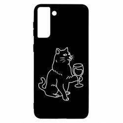 Чохол для Samsung S21 Ultra Cat with a glass of wine