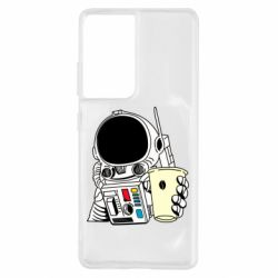 Чехол для Samsung S21 Ultra Cosmonaut with a coffee