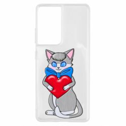 Чехол для Samsung S21 Ultra Cute kitten with a heart in its paws