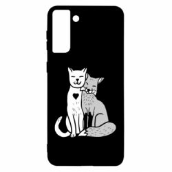 Чохол для Samsung S21 Ultra Fox and cat heart