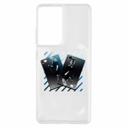 Чехол для Samsung S21 Ultra Gambling Cards The Witcher and Cyrilla