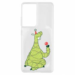 Чехол для Samsung S21 Ultra Green llama with a garland