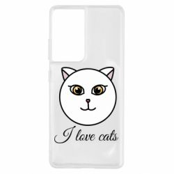 Чохол для Samsung S21 Ultra I love cats art