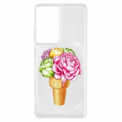 Чохол для Samsung S21 Ultra Ice cream flowers